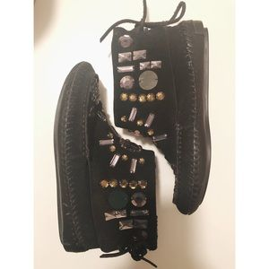 Tory Burch Leather embellished Moccasin Booties